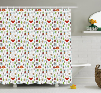 Insects Pattern Ant Bee Shower Curtain