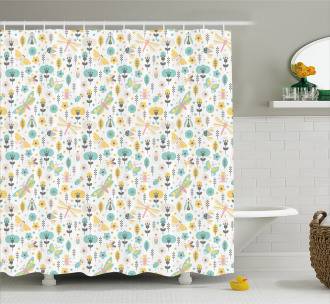 Winged Insects Flowers Shower Curtain