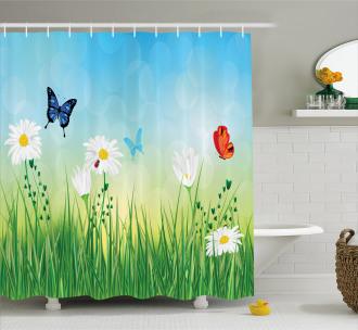 Meadow Daisies Grass Shower Curtain