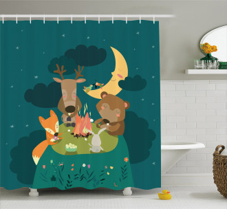 Forest Bonfire at Night Shower Curtain
