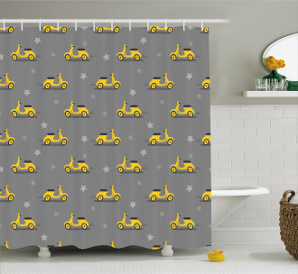 Scooters and Stars Shower Curtain