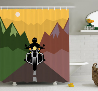 Rider in Mountains Shower Curtain