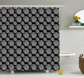 Spirals Spots Shower Curtain