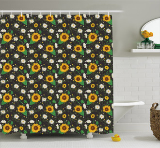 Daisy Buds Sunflower Shower Curtain