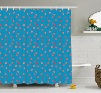 Hearts with Stars and Dots Shower Curtain