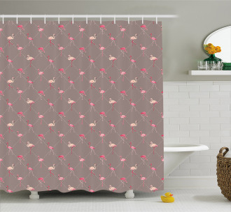 Exotic Birds Checkered Shower Curtain