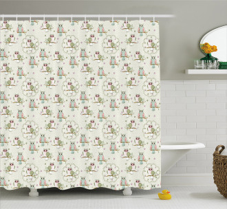 Birds Sitting on the Branches Shower Curtain