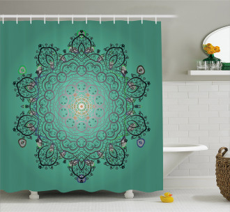 Ethnic Flower Bloom Shower Curtain
