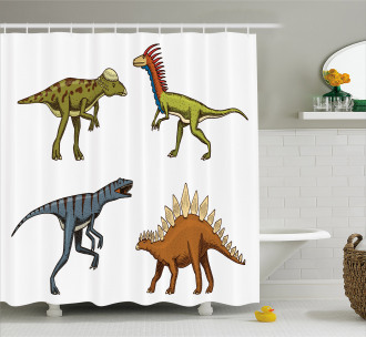 Reptile Fossils Animals Shower Curtain