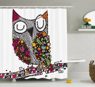 Childish Sketch Art of Bird Shower Curtain