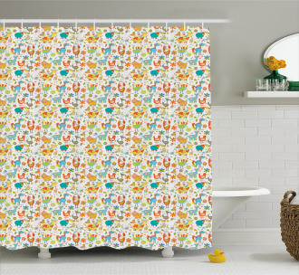 Cheerful Kids Farm Animals Shower Curtain