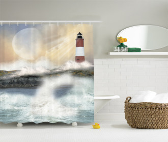 Stormy Sea Waves Shower Curtain