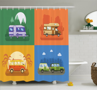 Touristic Camp Areas Colorful Shower Curtain