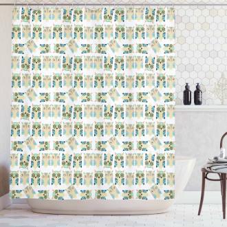 Ornamental Nursery Style Birds Shower Curtain