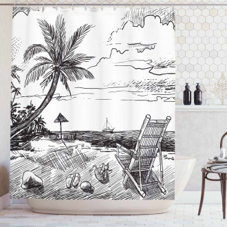 Beach Sketch with Chair Tree Shower Curtain