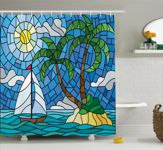 Stained Glass Mosaic Style Shower Curtain