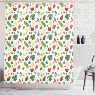 Ice Cream and Exotic Leaves Shower Curtain