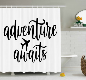 Travel Typography Shower Curtain