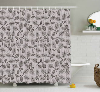 Twigs Spruces Christmas Shower Curtain