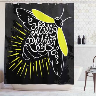 Keep Shining Calligraphy Shower Curtain