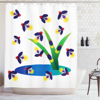 Bugs Flying around Water Shower Curtain