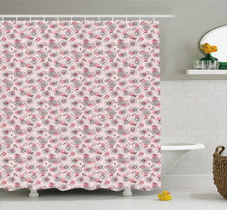 Sketchy Flowers on Soft Pink Shower Curtain