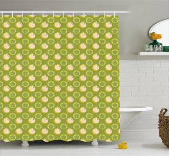 Sliced Fresh Fruits Pattern Shower Curtain