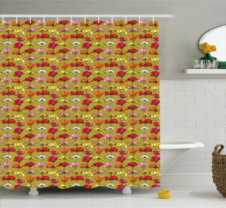 Vintage Flourishing Poppies Shower Curtain
