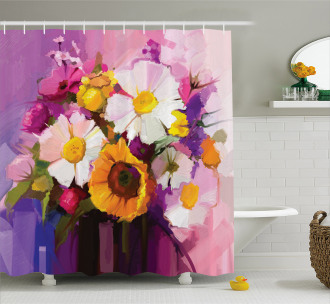 Hand Painted Bouquet Shower Curtain
