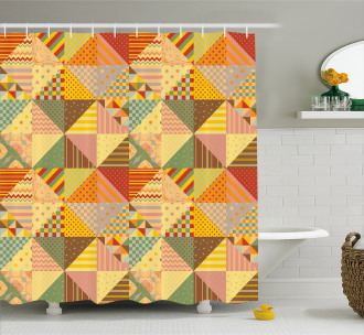 Colorful Triangle Patches Shower Curtain