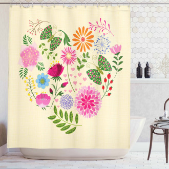 Colorful Flowers Butterflies Shower Curtain