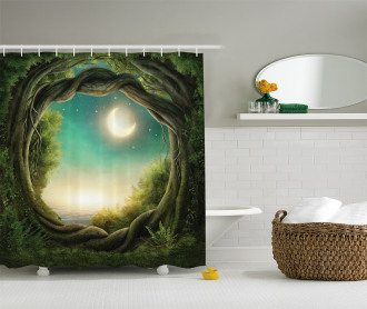 Enchanted Forest Full Moon Shower Curtain