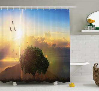Romantic Fairy Sunset View Shower Curtain