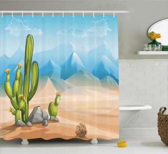 Lonely Cactus in the Desert Shower Curtain