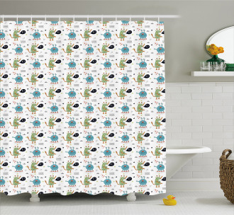 Funky Monsters and Creatures Shower Curtain