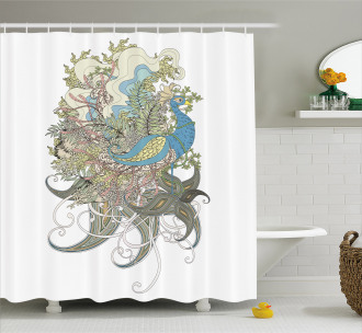 Aquatic Feathers Shower Curtain