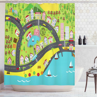 Landscape of Urban and Suburbs Shower Curtain