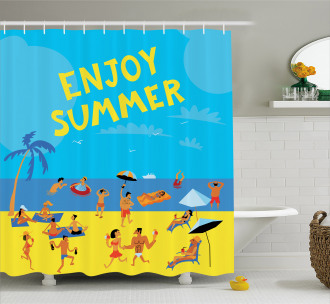 People Tropical Beach Shower Curtain