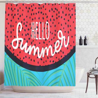 Watermelon Jungle Leaf Shower Curtain