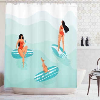 Surfing Girls with a Dog Shower Curtain