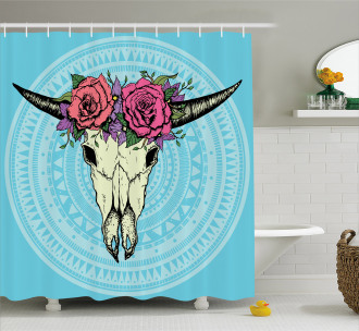 Buffalo Skull with Flowers Shower Curtain