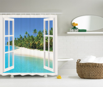 Paradise Island Palm Tree Shower Curtain