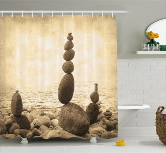 Zen Rocks Calm Sepia Art Shower Curtain