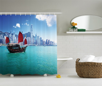 Hong Kong Harbour Boat Shower Curtain