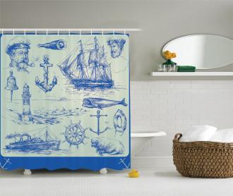 Whale Wheel Sketch Shower Curtain