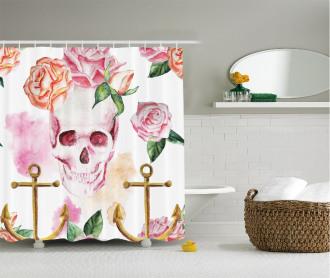 Anchor Roses Peony Art Shower Curtain