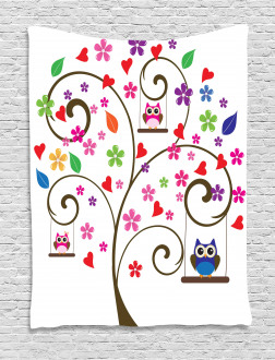 Tree Flowers Playful Birds Tapestry