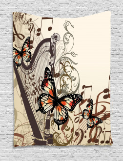 Harp Ornament Butterfly Tapestry