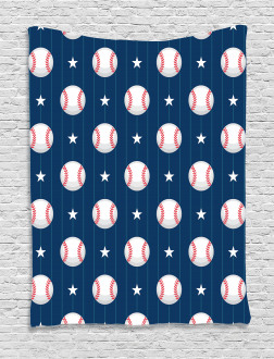 Baseball Artsy Stripes Tapestry