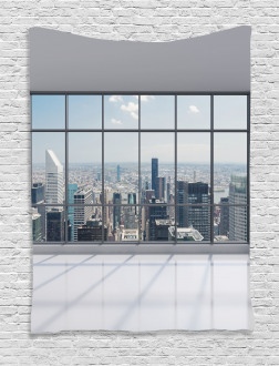 Big Window Downtown View Tapestry